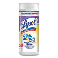 LYSOL® Brand Dual Action Disinfecting Wipes, Citrus, 7 x 7.5, 35/Canister