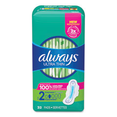 Always® Ultra Thin Pads with Wings, Size 2, Long, Super Absorbent, 32/Pack, 3 Packs/Carton