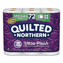 Quilted Northern® Ultra Plush Bathroom Tissue, Mega Rolls, Septic Safe, 3-Ply, White, 4 x 4, 284 Sheets/Roll, 18 Rolls/Carton