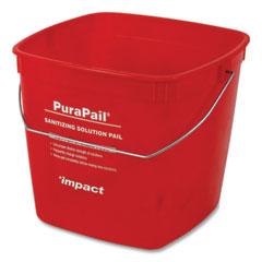 Impact® PuraPail Sanitizing Bucket, 6 qt, Polyethylene, Red