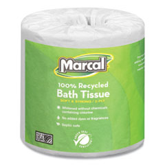 Marcal® 100% Recycled Two-Ply Bath Tissue, Septic Safe, White, 330 Sheets/Roll, 48 Rolls/Carton
