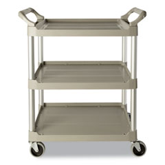 Rubbermaid® Commercial Economy Plastic Cart, Three-Shelf, 18.63w x 33.63d x 37.75h, Platinum