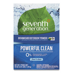 Seventh Generation® Automatic Dishwasher Powder, Free and Clear, 45oz Box, 12/Carton