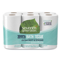 Seventh Generation® 100% Recycled Bathroom Tissue, Septic Safe, 2-Ply, White, 240 Sheets/Roll, 12/Pack