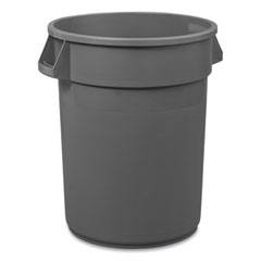 Boardwalk® Round Waste Receptacle, LLDPE, 32 gal, Gray