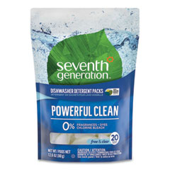 Seventh Generation® Natural Dishwasher Detergent Concentrated Packs, Free and Clear, 20 Packets/Pack