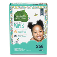 Seventh Generation® Free and Clear Baby Wipes, Refill, Unscented, White, 256/Pack
