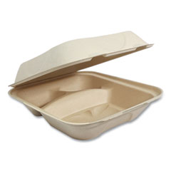 World Centric® Fiber Hinged Containers, 3-Compartment, 8 x 8 x 3, Natural, 300/Carton