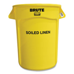 """Rubbermaid® Commercial Round Brute Container with """"Soiled Linen"""" Imprint, Plastic, 32 gal, Yellow"""