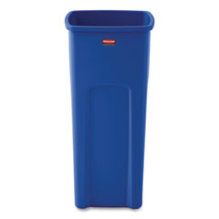 Rubbermaid® Commercial Recycled Untouchable Square Recycling Container, Plastic, 23 gal, Blue