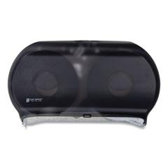 """San Jamar® Twin 9"""" Jumbo Tissue Dispenser, 19 x 5 1/4 x 12, Transparent Black Pearl"""
