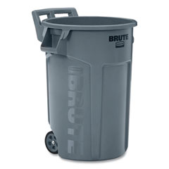 Rubbermaid® Commercial Vented Wheeled Brute Container, 44 gal, Plastic, Gray