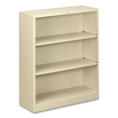 Metal Bookcase, Three-Shelf, 34-1/2w x 12-5/8d x 41h, Putty