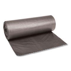 "Boardwalk® Low-Density Waste Can Liners, 60 gal, 0.95 mil, 38"" x 58"", Gray, 100/Carton"