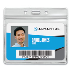 Resealable ID Badge Holder, Horizontal, 4.13 x 3.75, Frosted, 50/Pack