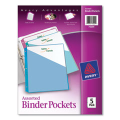 Avery® Binder Pockets, 3-Hole Punched, 9 1/4 x 11, Assorted Colors, 5/Pack