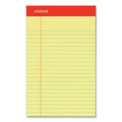 Universal® Perforated Ruled Writing Pads, Narrow Rule, Red Headband, 50 Canary-Yellow 5 x 8 Sheets, Dozen