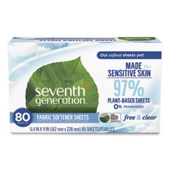 Seventh Generation® Natural Fabric Softener Sheets, Unscented, 80 Sheets/Box