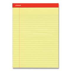 Universal® Perforated Ruled Writing Pads, Wide/Legal Rule, Red Headband, 50 Canary-Yellow 8.5 x 11.75 Sheets, Dozen