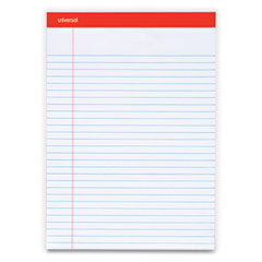Universal® Perforated Ruled Writing Pads, Wide/Legal Rule, Red Headband, 50 White 8.5 x 11.75 Sheets, Dozen