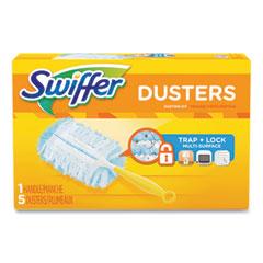"Swiffer® Dusters Starter Kit, Dust Lock Fiber, 6"" Handle, Blue/Yellow, 6/Carton"