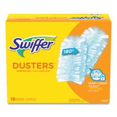 "Swiffer® Refill Dusters, Dust Lock Fiber, 2"" x 6"", Light Blue, 18/Box, 4 Boxes/Carton"