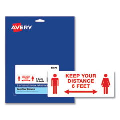 Avery® Preprinted Surface Safe ID Decals, 8.38 x 3.25, Keep Your Distance 6 Feet, White Face, Red Graphics, 15/Pack