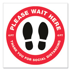 """Social Distancing Floor Decals, 10.5"""" dia, Please Wait Here, Red/White Face, Black Graphics, 5/Pack"""