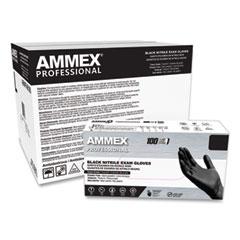 AMMEX® Professional Nitrile Exam Gloves, Powder-Free, 3 mil, Medium, Black, 100/Box