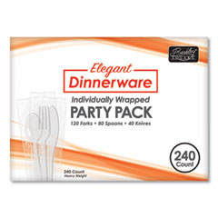 Berkley Square Elegant Dinnerware Heavyweight Cutlery Assortment, Individually Wrapped, 120 Forks/80 Spoons/40 Knives, White, 240/Box