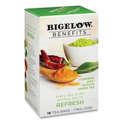 Bigelow® Benefits Turmeric Chili Matcha Green Tea, 0.6 oz Tea Bag, 18/Box