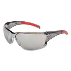 MCR™ Safety HK1 Series Safety Glasses, Wraparound, Scratch-Resistant, Silver Mirror Lens, Smoke/Red Frame