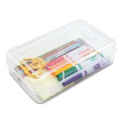 Advantus Gem Polypropylene Pencil Box with Lid, Clear, 8 1/2 x 5 1/4 x 2 1/2
