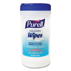 PURELL® Hand Sanitizing Wipes, 5 7/10x7 1/2, Clean Refreshing Scent, 40/Canister, 6/CT