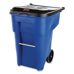 Rubbermaid® Commercial Brute Rollout Container, Square, Plastic, 50 gal, Blue
