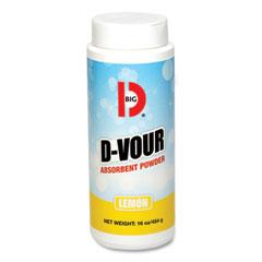 Big D Industries D-Vour Absorbent Powder, Canister, Lemon, 16oz, 6/Carton