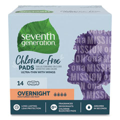 Seventh Generation® Chlorine-Free Ultra Thin Pads with Wings, Overnight, 14/Pack, 6 Packs/Carton