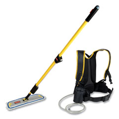 """Rubbermaid® Commercial Flow Finishing System, 18"""" Wide Nylon Head, 56"""" Yellow Plastic Handle"""