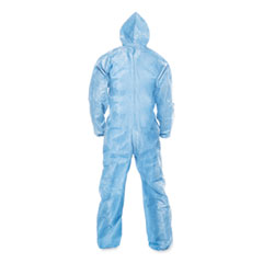 KleenGuard™ A65 Zipper Front Flame-Resistant Hooded Coveralls, Elastic Wrist and Ankles, Blue, 2X-Large, 25/Carton