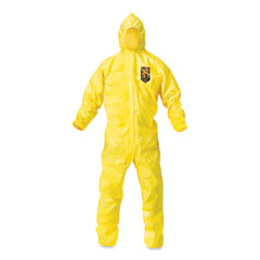 KleenGuard™ A70 Chemical Spray Protection Coveralls, Hooded, Storm Flap, Yellow, Large,12/Carton