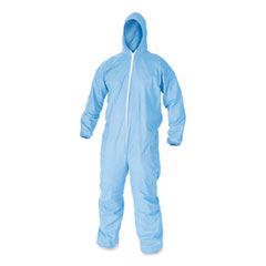 KleenGuard™ A65 Zipper Front Flame-Resistant Hooded Coveralls, Elastic Wrist and Ankles, Blue, X-Large, 25/Carton