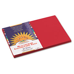 SunWorks® Construction Paper, 58 lbs., 12 x 18, Holiday Red, 50 Sheets/Pack
