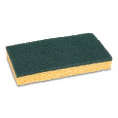 "Boardwalk® Scrubbing Sponge, Medium Duty, 3.6 x 6.1, 0.75"" Thick, Yellow/Green, Individually Wrapped, 20/Carton"