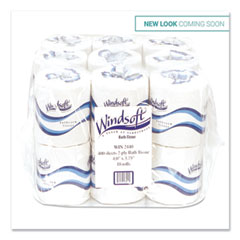 Windsoft® Bath Tissue, Septic Safe, 2-Ply, White, 4 x 3.75, 400 Sheets/Roll, 18 Rolls/Carton