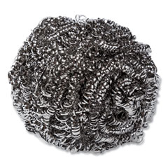 AmerCareRoyal® Stainless Steel Sponge, Polybagged, 1.75 oz, Gray, 12/Pack, 6 Packs/Carton