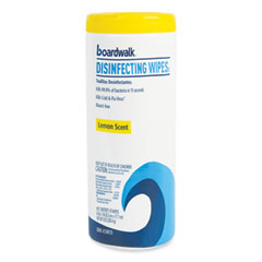 Boardwalk® Disinfecting Wipes, 8 x 7, Lemon Scent, 35/Canister, 12 Canisters/Carton