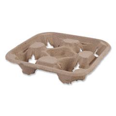 Boardwalk® Cup Carrier Tray, 8 oz to 32 oz, Four Cups, Kraft, 300/Carton