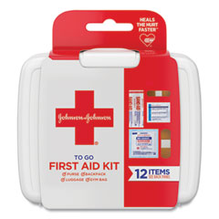 Johnson & Johnson® Red Cross® Mini First Aid To Go Kit, 12 Pieces, Plastic Case