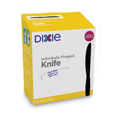 Grab'N Go Wrapped Cutlery, Knives, Black, 90/Box