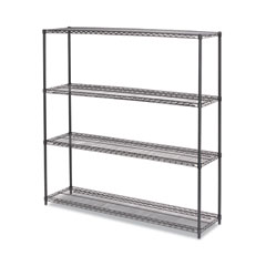 "BA Plus Wire Shelving Kit, 4 Shelves, 72"" x 18"" x 72"", Black Anthracite Plus"